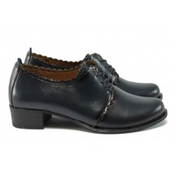 Дамски обувки на среден ток от естествена кожа МИ 174 син кожа