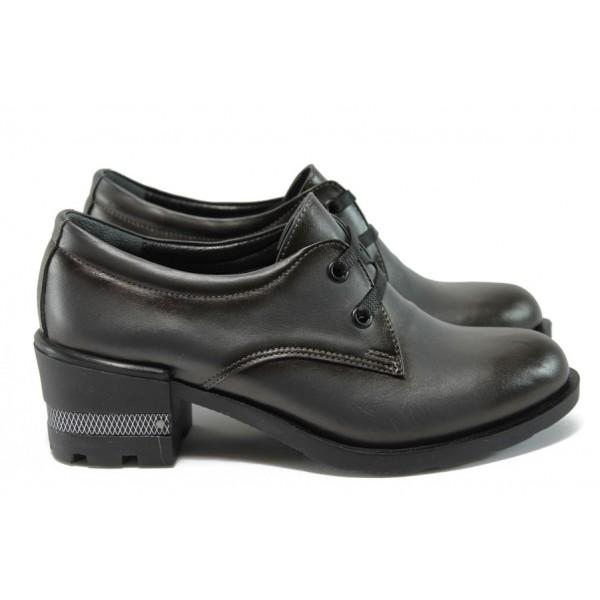 Дамски обувки от естествена кожа на среден ток МИ 104-53 сив