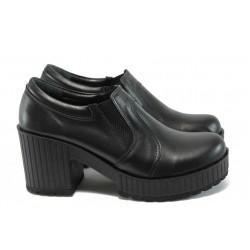 Дамски обувки от естествена кожа на висок ток МИ 23-6443 черен