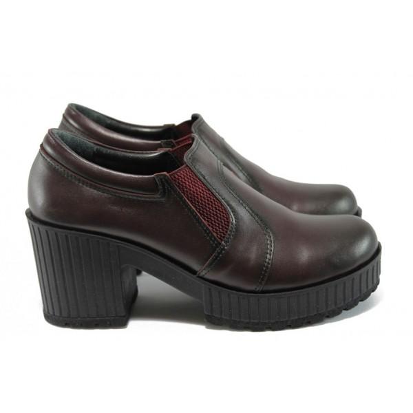 Дамски обувки от естествена кожа на висок ток МИ 23-6443 бордо