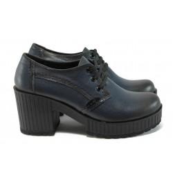 Дамски обувки от естествена кожа на висок ток МИ 22-6443 син