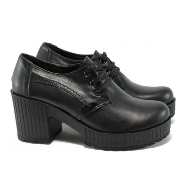 Дамски обувки от естествена кожа на висок ток МИ 22-6443 черен