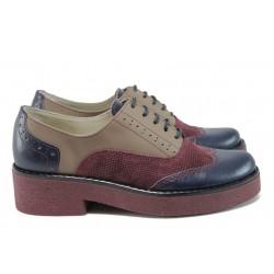 Анатомични дамски обувки от естествена кожа ГА 586-33 бордо