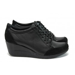 Ортопедични обувки на платформа от естествена кожа МИ 1700 черен