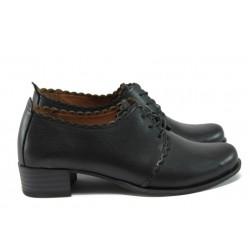 Дамски обувки на среден ток от естествена кожа МИ 174 черен кожа
