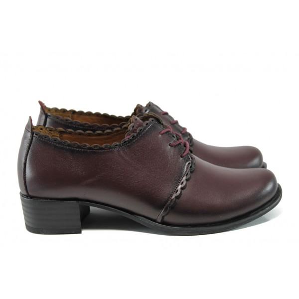 Анатомични дамски обувки на среден ток от естествена кожа МИ 174 бордо кожа | Дамски обувки на среден ток | MES.BG