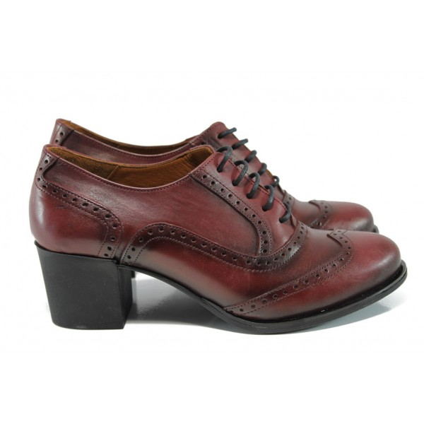 Анатомични дамски обувки от естествена кожа на среден ток МИ 606 бордо | Дамски обувки на среден ток | MES.BG