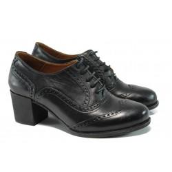 Анатомични дамски обувки от естествена кожа на среден ток МИ 606 черен | Дамски обувки на среден ток | MES.BG