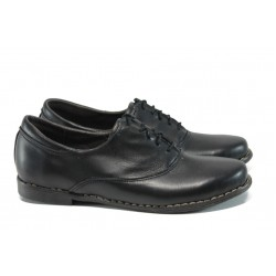Анатомични дамски обувки от естествена кожа НЛ 163-14004 черна кожа   Равни дамски обувки   MES.BG