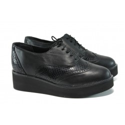 Дамски ортопедични обувки от естествена кожа НБ 2364-663 черен | Равни дамски обувки | MES.BG