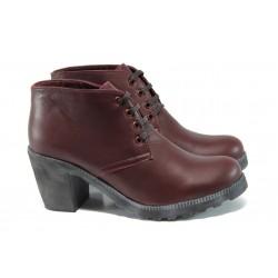 Дамски обувки от естествена кожа ГА 702-6 бордо |Дамски обувки на висок ток| MES.BG