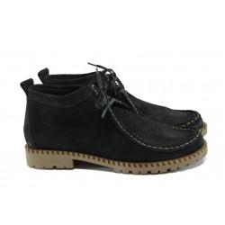 Дамски кларкове от естествен велур ГА 570-3 черен | Равни дамски обувки | MES.BG
