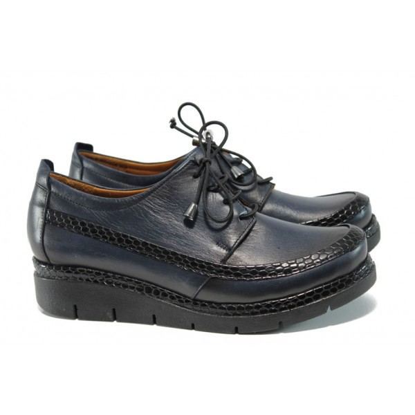 Равни анатомични обувки от естествена кожа МИ 229 син | Равни дамски обувки | MES.BG