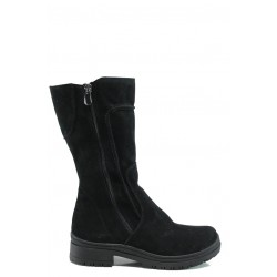 Дамски полу-ботуши от естествен велур за слаб крак МИ 650 черен | Дамски ботуши | MES.BG