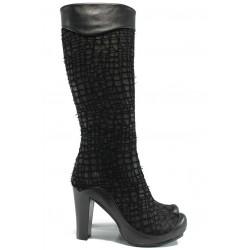 Дамски ботуши от естествен набук МИ 216 черен | Дамски ботуши | MES.BG