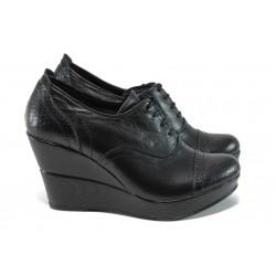 Анатомични дамски обувки от естествена кожа НЛ 146-10383 черен-змия | Дамски обувки на платформа | MES.BG