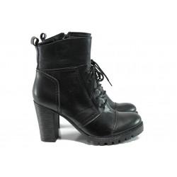 Дамски боти от естествена кожа МИ 043 черен | Дамски боти | MES.BG