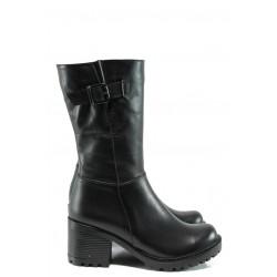Дамски полу-ботуши от естествена кожа МИ 590 черен | Дамски ботуши | MES.BG