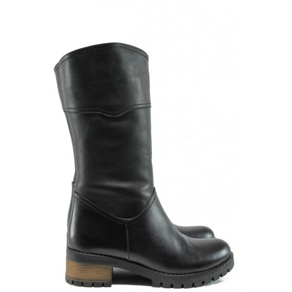 Дамски ботуши от естествена кожа МИ 266 черен гигант | Дамски боти | MES.BG