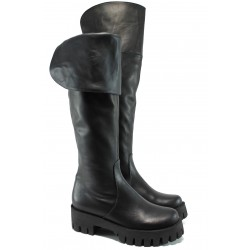 Дамски ботуши от естествена кожа тип чизма МО 3254 черен | Дамски ботуши | MES.BG