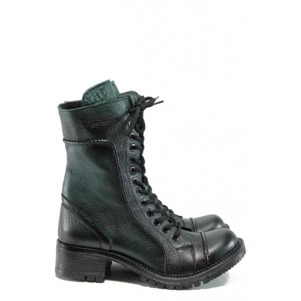 Дамски полу-ботуши от естествена кожа тип кубинки МИ 032 зелен | Дамски ботуши | MES.BG