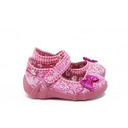 Анатомични бебешки обувки с лепенка МА 13-139 розов с панделка 20/25
