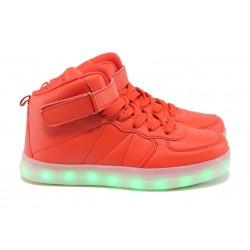 Спортни обувки тип кец със светещо ходило Runners 06951 червен 28/34