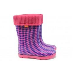 Детски гумени ботуши с топъл свалящ се чорап Demar 0049 розов 28/35 | Гумени ботуши | MES.BG
