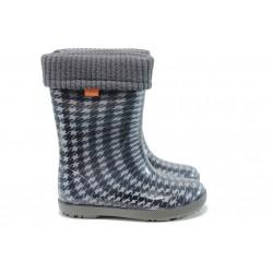 Детски гумени ботуши с топъл свалящ се чорап Demar 0049 черен 28/35 | Гумени ботуши | MES.BG
