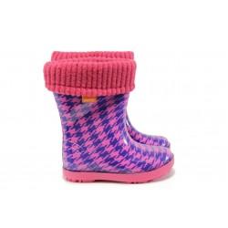 Детски гумени ботуши с топъл свалящ се чорап Demar 0048 розов 20/27 | Гумени ботуши | MES.BG