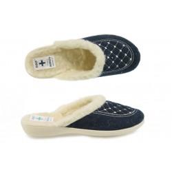 Анатомични дамски домашни чехли с Bio ходило и естествена вълна МА 19380 син | Домашни чехли | MES.BG