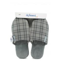 Анатомични мъжки домашни чехли ДФ Roma top M52 сив каре | Домашни чехли | MES.BG