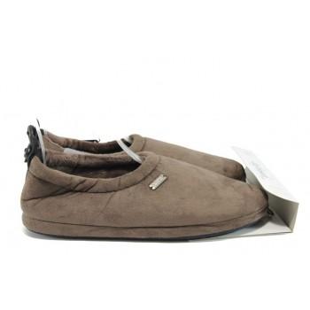 Анатомични мъжки домашни пантофи ДФ Basicui65 кафяв | Домашни чехли | MES.BG