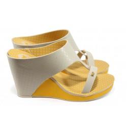 Дамски бразилски чехли на платформа Zaxy 81758 жълт