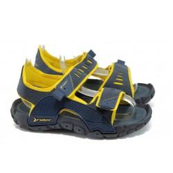 Детски анатомични сандали с лепенки Rider 81710 син-жълт 31/38