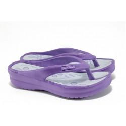 Дамски чехли на платформа ГК 1108 лилав