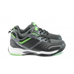 Мъжки кожени маратонки Bulldozer 52037 черен-зелен