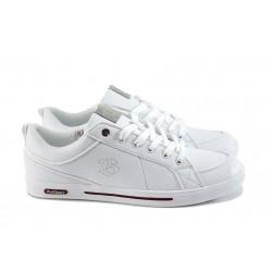 Мъжки спортни обувки от естествена кожа Bulldozer 61051 бели