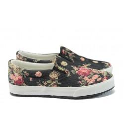 Дамски спортни обувки на цветя Bulldozer 61214 черен