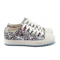 Дамски спортни обувки на цветя Bulldozer 61248 т.син