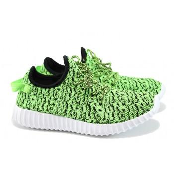 Леки дамски маратонки с връзки ГК 30152 зелен