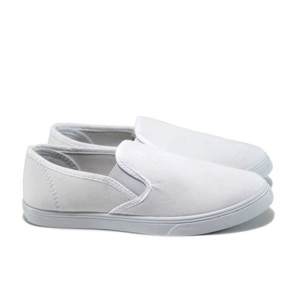 Юношески спортни обувки /полукецове/ Runners 161-4005 бял