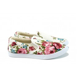 Дамски кецове на цветя Runners 162-303 бял цветя