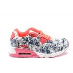 Дамски кожени маратонки с въздушна камера Bulldozer 62317 сив цветя