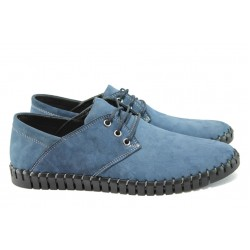 Мъжки анатомични обувки от естествен набук МИ 106 син