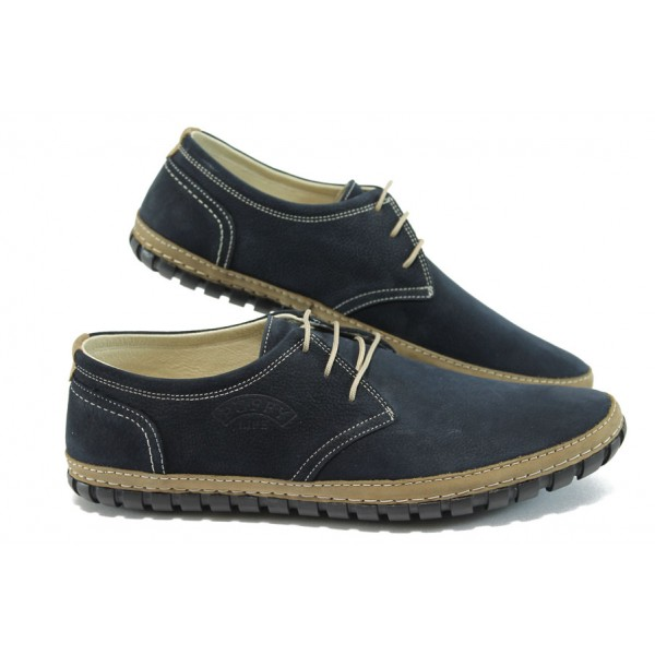 Мъжки анатомични обувки от естествен набук ПИ 748 син