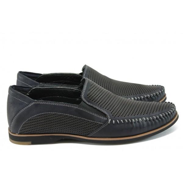 Спортно-елегантни мъжки обувки от естествена кожа МИ 101 т.син