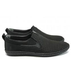 Мъжки обувки от естествена кожа МИ 025 черен