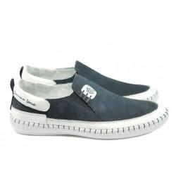 Ортопедични мъжки обувки от естествен набук МЙ 83347 син-бял