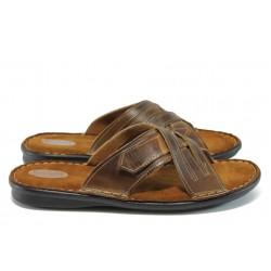 Анатомични мъжки чехли от естествена кожа КН 022-8069 кафяв